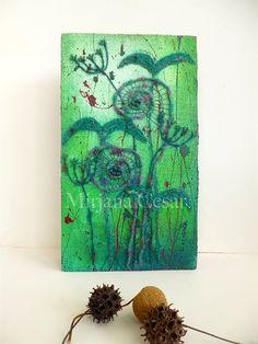 Unfurling XXVII original mixed media artwork home by Cesart64 #ferns #MixedMedia #greens #nature #embroidery