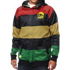Neff Stripe Shredder Rasta Tech Fleece Jacket at Zumiez : PDP