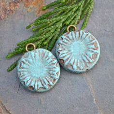 Handmade Polymer Clay Soft Turquoise Poppy by KristiBowmanDesign, $8.00