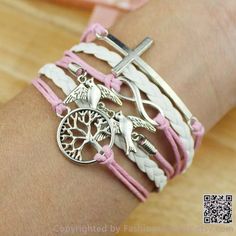 Wishing Tree, doves, crosses, infinity bracelet, leather braided rope bracelet wax rope bracelets, boyfriend and girlfriend gifts