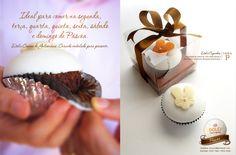Dolci Caixa P acetato com cupcake dark chocolate personalizado