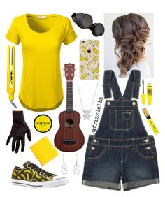 """""""Minions"""" by frizzleliz ❤ liked on Polyvore featuring J.TOMSON, Jordache, Converse, MaBelle, Maybelline, COLORSMASH, Drybar, Balenciaga and minions"""