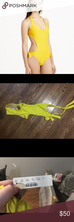 J. Crew cutout one piece. J. Crew yellow one piece cutout suit. Brand new with tags! Size 0. No trades. J. Crew Swim One Pieces
