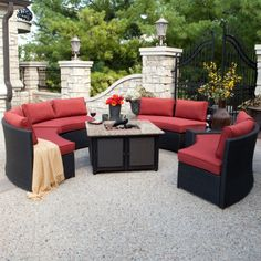 Meridian All Weather Wicker Conversation Set with Granite Fire Pit $2999