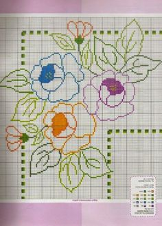 Colored roses for angled pattern cross stitch pattern - free cross stitch patterns crochet knitting amigurumi Cross Stitch Borders, Cross Stitch Rose, Cross Stitch Flowers, Cross Stitch Charts, Cross Stitch Designs, Cross Stitching, Cross Stitch Embroidery, Embroidery Patterns, Cross Stitch Patterns