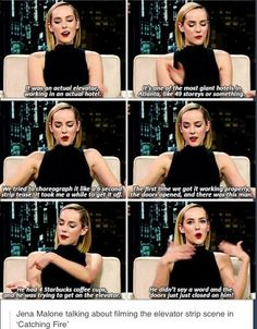 Jena Malone talking about the elevator strip scene in Catching Fire Hunger Games Cast, Hunger Games Fandom, Hunger Games Humor, Hunger Games Catching Fire, Hunger Games Trilogy, The Hunger Games Actors, Katniss Everdeen, Jena Malone, I Volunteer As Tribute