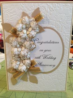 Special gold and white 50th wedding anniversary card