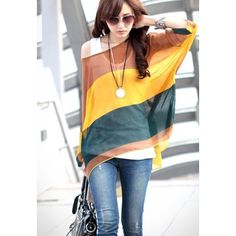 Bohemian Colorful Broad Stripe Print Loose Fit Batwing Sleeve Women's Spring Blouse