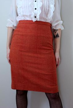 Vintage Pencil Me In Red Plaid Skirt // 1950's by GeekBettyVintage