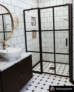 This union of classic tile and brass accessories is just spectacular in this bathroom Decoration, Divider, Brass, Shower, Mirror, Finland, Classic, Interior, Bathrooms