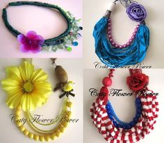 WholesaleTen Flower Necklaces Fabric Necklace por catyflowerpower, $230,00