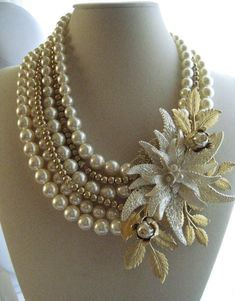 Pearls and Swarovski crystal statement necklace.