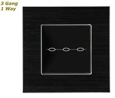 GLSTouch Designer Black Brushed Aluminium Touch Light Switch (On/Off) 3 Gang 1 Way