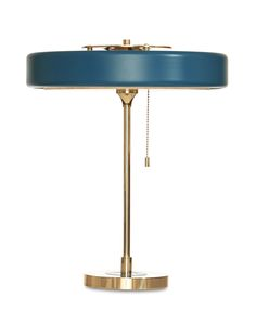 Revolve Table Lamp Brass & Petrol Blue — Bert Frank