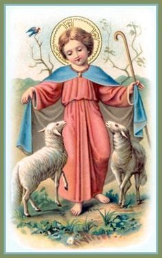 Boy Jesus with lambs. Religious Images, Religious Art, Image Jesus, Pictures Of Jesus Christ, Vintage Holy Cards, Christian Artwork, Blessed Mother Mary, The Good Shepherd, Catholic Art