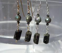 Tourmaline Earrings, Raw Tourmaline, Black Tourmaline, Labradorite Earrings, Black Earrings, Tourmaline Rough, Gemstone Earrings by ThreeMagicGenies on Etsy