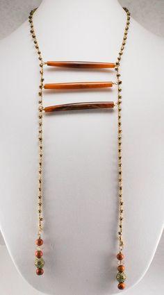 3- Horn Crochet Beaded Necklace $99.00 #ArtisanJewelry #HandmadeJewelry #BohemianJewelry