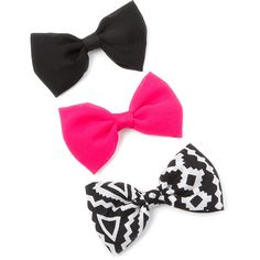 Aztec, Black and Pink Chiffon Bow Hair Clips Set of 3 | Claire's ($35) ❤ liked on Polyvore featuring accessories and hair accessories