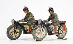 2 Elastolin-Soldaten auf KRAD Motorrad Kradmelder, 7,5cm Serie, orig. 30er Jahre | eBay