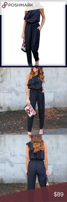 🆕 Black Ruffle Jumpsuit ➖SIZE: Small, Medium, Large, XL  ➖STYLE: A black jumpsuit with an elastic waistband and a floral Ruffle design that is a popover style.    ❌NO TRADE  326809 Pants Jumpsuits & Rompers