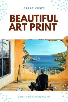 The surrealistic art print with the impressive view makes you want to vacation, rest and relaxation! You can enjoy this view every day anew - and it never gets boring. #artprint #view #surrealism Beautiful Islands, Beautiful Places, Bull Painting, Mallorca Island, Rest And Relaxation, Grey Skies, Great View, Art Gallery, Vacation