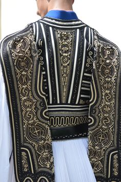 Evzon's Femeli or waistcoat, hand embroidered with great skill. Various designs of great traditional and folklore importance are embroidered on the waistcoat in white or gilt.