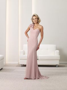 One Shoulder Court Train Chiffon Sheath Column Mother Of The Bride Dress With Beading USD $168.49