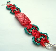 Micro Macrame Bracelet in Red & Turquoise