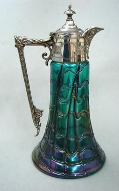 Art Nouveau Art Glass Silver Plate Claret Jug Antique