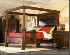 cama con dosel rústico