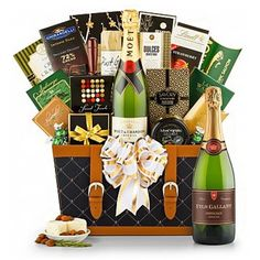 Champagne Wishes Gift Basket, Wine Baskets: Premium bubbly paired deliciously with name-brand gourmet foods makes for an ideal gift to send your best! Corporate Gift Baskets, Corporate Gifts, Wish Gifts, Thank You Gifts, Champagne Gift Baskets, Themed Gift Baskets, Wine Baskets, Moet Chandon, Client Gifts