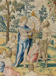 "Design attributed to Pieter Coecke van Aelst (Netherlandish, 1502–1550). The Flaying of Marsyas Tapestry in the set of the Poesia (detail), ca. 1547–48. Woven under the direction of Willem de Pannemaker, Brussels, before 1556. Patrimonio Nacional, Palacio Real de La Granja de San Ildefonso (TA 19/4, 10004158) | This work will be featured in ""Grand Design: Pieter Coecke van Aelst and Renaissance Tapestry,"" on view October 8, 2014–January 11, 2015. #Coecke #tapestrytuesday"