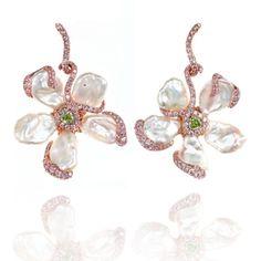 Leviev Triangular-Cut Fancy Intense Green-Yellow Diamond and Keshi Pearl Earrings - Shop Luxury Jewelry | Editorialist