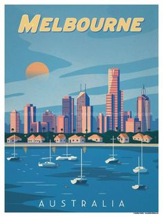 Vintage Travel Image of Melbourne Poster - Browse all products in the Travel Posters category from IdeaStorm Studio Store. Melbourne Australia, Australia Travel, Melbourne Art, South Australia, Brisbane, Posters Australia, London Poster, Vintage Travel Posters, Vintage Ski