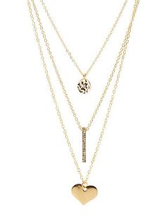 Disk, Bar & Heart Layered Necklace: Charlotte Russe