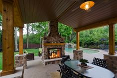 Outdoor Living Spaces with Fireplace | , : Cheerful Indoor Outdoor Living Spaces With Brick Stone Fireplace ...