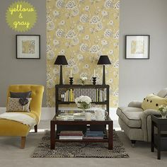 That wallpaper again... http://www.creamylife.com/interior-design/6668/color-inspiration-yellow-gray.html