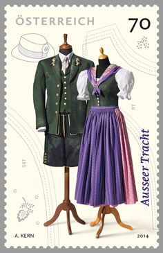 Ausseer Tracht Alpine Style, Visit Austria, Folk Costume, Costumes, Mod Dress, Traditional Dresses, Daily Wear, Postage Stamps, Travel Style