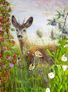 Roe Deer and Goldfinches Bird Art by artist Tina Bone