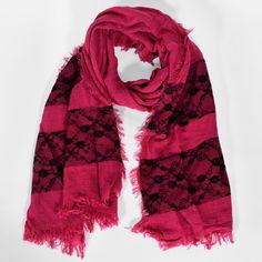 8486dd7cb861 Grande écharpe chaude rose à dentelle noire Bande De Dentelle, Grande  Echarpe, Douillette,