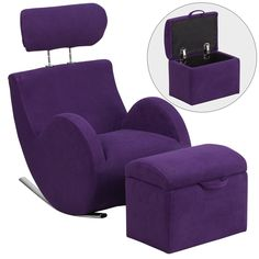 Buy the Delacora Purple Direct. Shop for the Delacora Purple Hercules 18 Inch Wide Plastic Framed Fabric Rocking Chair with Ottoman Storage and save. Purple Chair, Purple Fabric, Black Fabric, Purple Home, Purple Furniture, Furniture Design, Ikea Furniture, Furniture Logo, Steel Furniture