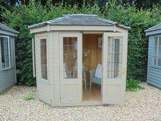 Ex-Display Wiveton Summerhouse - x 883 (Ref: Summer House Garden, Home And Garden, Garden Sheds Uk, Roof Overhang, Chalet Style, Cedar Shingles, She Sheds, Garden Buildings, Double Doors