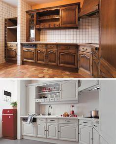 Meble kuchenne przed i po pomalowaniu farbami renowacyjnymi V33.