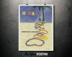 1946 Hawaii - American Airlines - Native Hawaiian Girl Making Leis by John A. Fernie // High Quality Fine Art Reproduction Giclée Print by TheRetroPoster on Etsy