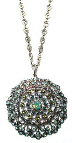 Catherine Popesco Sterling Silver Plated Pacific Opal Swarovski Crystal Filigree Medallion Pendant Necklace Catherine Popesco, http://www.amazon.com/dp/B0044EPSC8/ref=cm_sw_r_pi_dp_GxCLqb1NN12EM