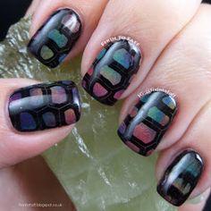 rainbow tortoise print nail art turtle gradient stamping stamped 31 day challenge