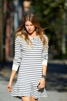 New Arrivals from Polo Ralph Lauren for Women: This waffle-knit drop-waist dress features a nautical-inspired allover striped pattern.