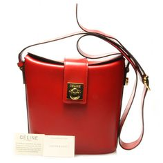 Authentic 1980s Vintage CELINE !!Rare!! Beautiful Red Bucket Sharped  Shoulder Bag. f94414e0f3527
