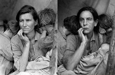 Dorothea Lange, Migrant Mother (1936), featuring Florence Owens Thompson, and Sandro Miller's version with John Malkovich.