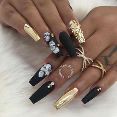 Black Nail Art Compilation - Stylish Black color Nails - acrylic nails with rhinestone - black nails with glitter - black matte nails - coffin black nails Mo. Sexy Nails, Glam Nails, Hot Nails, Fancy Nails, Matte Nails, Stiletto Nails, Beauty Nails, Bling Nails, Fabulous Nails